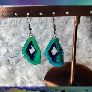 Metallic Turquoise Geode Druzy Earrings